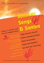 Plakat Sommer, Songs & Samba 2007 - Gesangverein Einigkeit eV ...