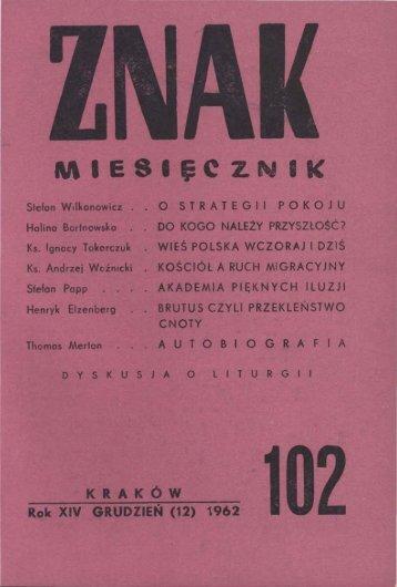 Nr 102, grudzień 1962 - Znak