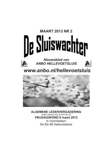 Sluiswachter maart 2013. - Anbo