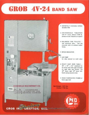 Grob 4V-24 Band Saw Brochure - Sterling Machinery