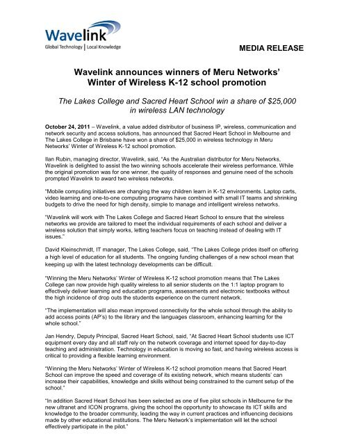 Meru Winter of Wireless Winners Announced 2011-10-24 - Wavelink