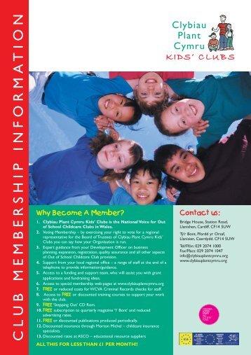 21887 Clybiau Member Lflt - Clybiau Plant Cymru: Kid's Clubs
