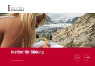 Broschüre Institut für Bildung - Stiftung Speranza