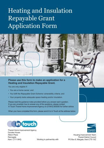 Heating and Insulation Repayable Grant Application Form