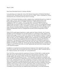 Letter to House Homeland Security Committee on Chemical ... - NACD
