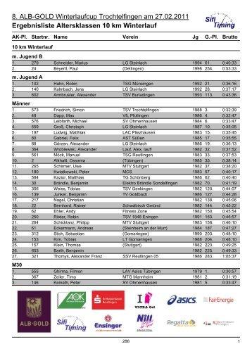 Ergebnisliste Altersklassen 10 km Winterlauf - LV Pliezhausen