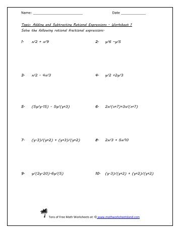 adding and subtracting rational expressions worksheet and answers worksheets adding and. Black Bedroom Furniture Sets. Home Design Ideas