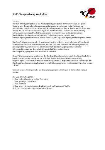Prüfungsordnung Wado Ryu gültig ab 01.01.2009 - Kyu-Portal