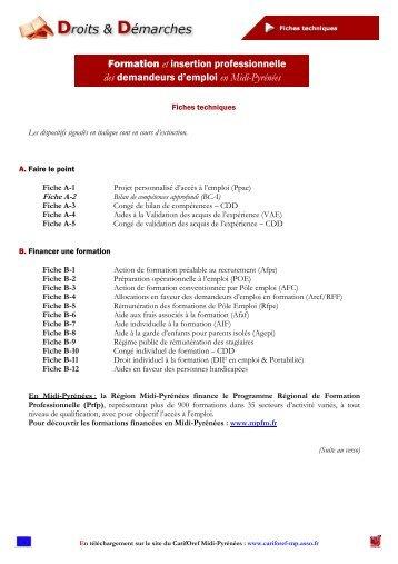 Sommaire - Carif Oref Midi-Pyrénée