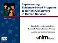 Implementing Evidence-Based Programs to Benefit Consumers in ...