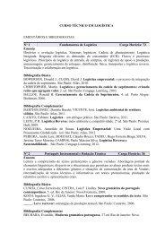 Ementas e Bibliografias do Curso Técnico em Logística - IFRS