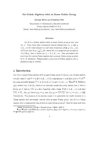 On Galois Algebras with an Inner Galois Group - Bradley Bradley