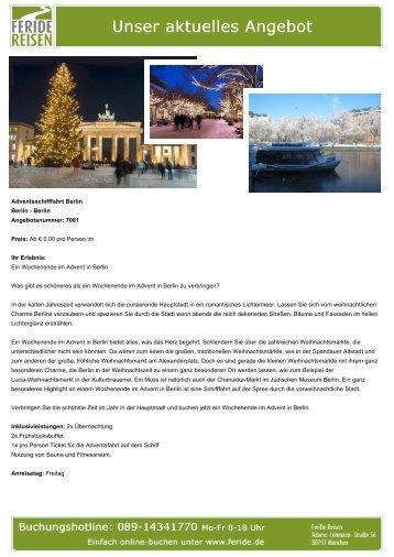 Adventsschifffahrt Berlin - Eventreisen - Trierischer Volksfreund