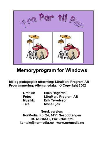 Memoryprogram for Windows - NorMedia AS