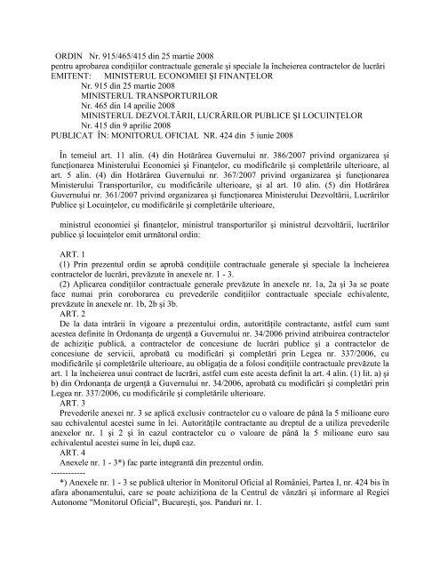 Ordin comun MEF/MT/MDLPL nr. 915/465/415/2008 - ADR Centru