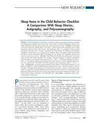 NEW RESEARCH Sleep Items in the Child Behavior Checklist: A ...
