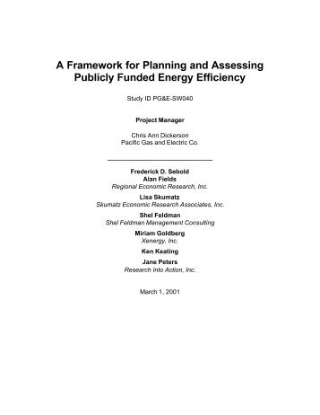 A Framework for Planning and Assessing Publicly Funded Energy ...