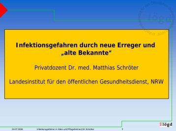 """Infektionsgefahren durch neue Erreger und """"alte ... - LZG.NRW"""