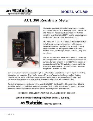 ACL 380 Resistivity Meter - Zycon
