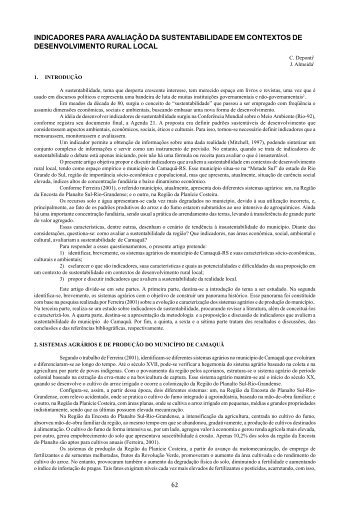 62 indicadores para avaliação da sustentabilidade em contextos de ...