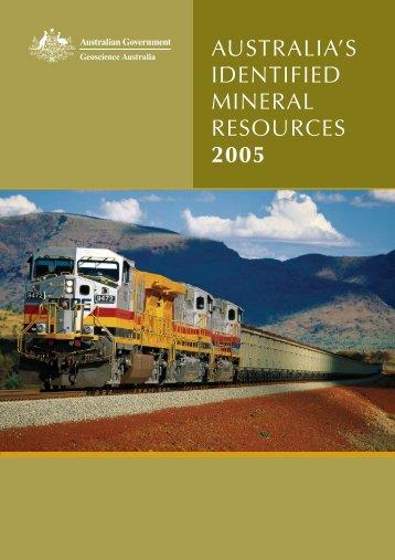 australia's identified mineral resources 2005 - Geoscience Australia