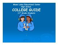 College Guide for Juniors - Miami Lakes Educational Center