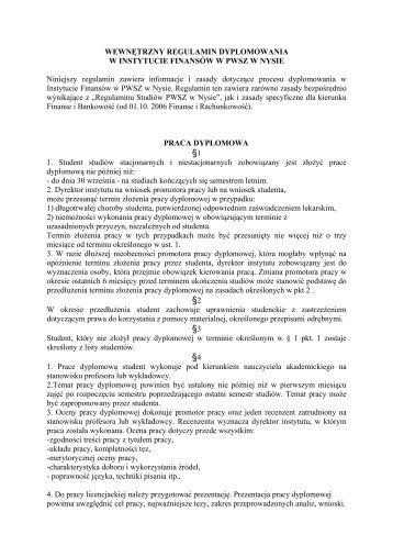 §1 §2 §3 §4 - Państwowa Wyższa Szkoła Zawodowa w Nysie