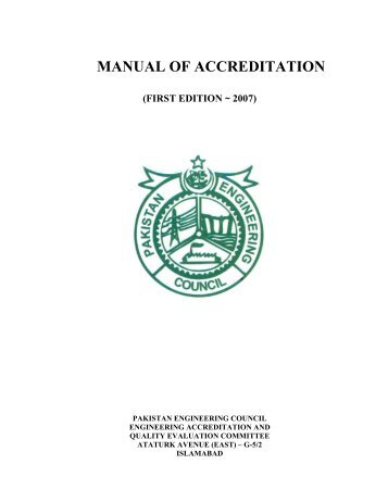 MANUAL OF ACCREDITATION - Pakistan Engineering Council