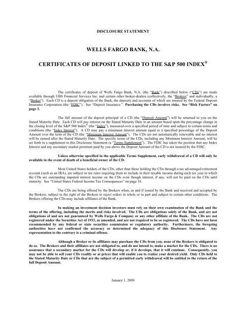 wells fargo bank, na certificates of deposit linked to