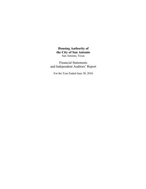 FINAL SAHA Audit Report 2010 - San Antonio Housing Authority