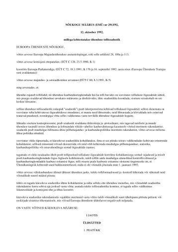 ühenduse tolliseadustik - Maksu- ja Tolliamet