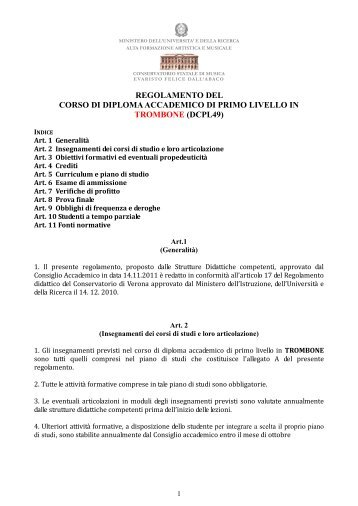 Triennio ordinario Trombone - Regolamento - Conservatorio di Verona