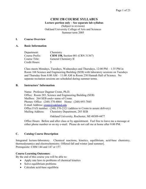 CHM 158 COURSE SYLLABUS - Oakland University