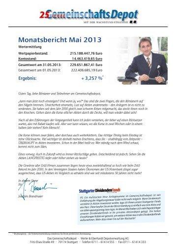 Monatsbericht Mai 2013 - Weiler Eberhardt Depotverwaltung AG