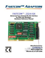 FASTCOM™: 232/4-ISA HARDWARE MANUAL - Commtech ...