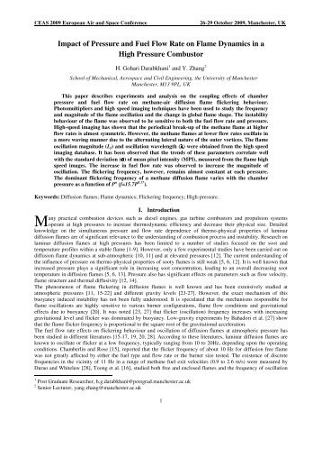 Impact of Pressure and Fuel Flow Rate on Flame Dynamics in a ...
