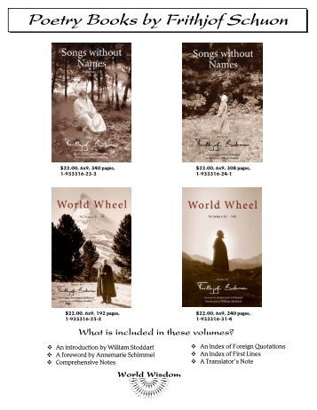 Poetry Books by Frithjof Schuon - World Wisdom
