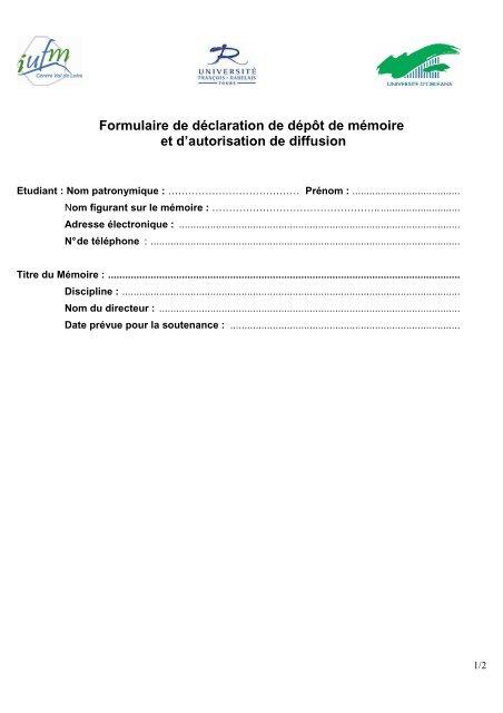 Formulaire Depot Ma C Moire Autorisation Diffusion Tours2 Iufm