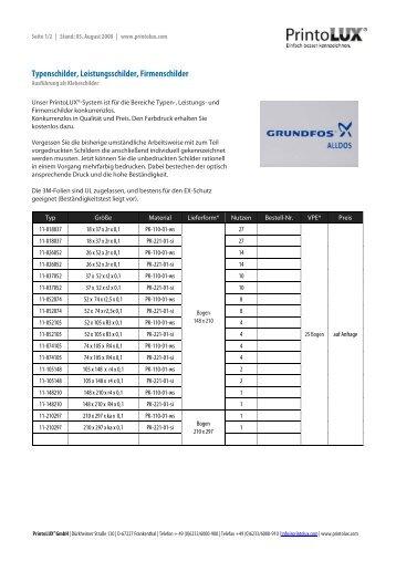Typenschilder, Leistungsschilder, Firmenschilder - Printolux GmbH