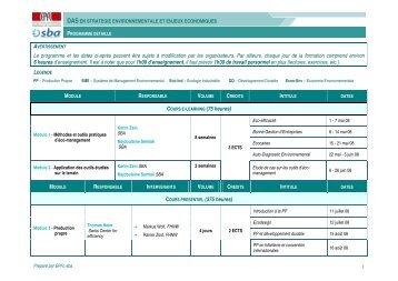 Le programme et les dates ci-après peuvent être sujets à ...