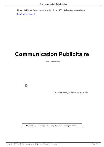 Communication Publicitaire - Florian Casset - cours gratuits - Blog