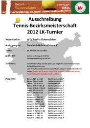 Ausschreibung Tennis-Bezirksmeisterschaft 2012 LK-Turnier