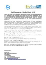 Call for papers – BioGasWorld 2013 - Energetische Biomassenutzung
