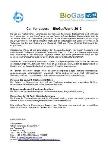 Call for papers – BioGasWorld 2013 - Energetische Biomassenutzung