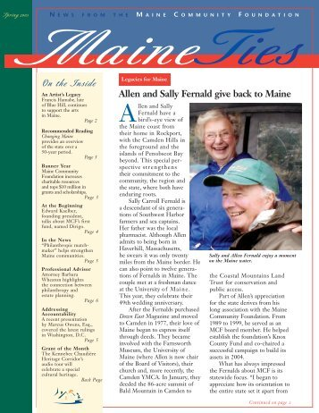 Allen and Sally Fernald give back to Maine - Maine Community ...