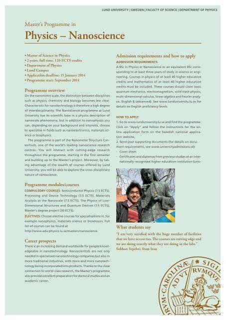 Master's Programme in Physics, Nanoscience - Lund University
