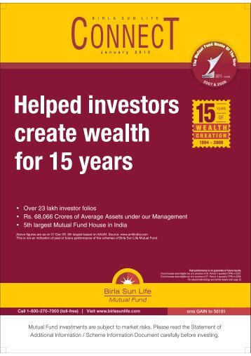 Connect for the Month of January 2010 - Birla Sun Life Mutual Fund