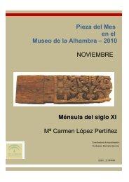 Pieza del Mes en el Museo de la Alhambra – 2010 NOVIEMBRE ...