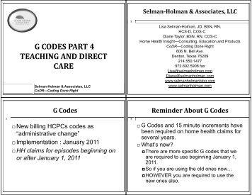 g codes part 4 teaching and direct care - Selman-Holman & Associates