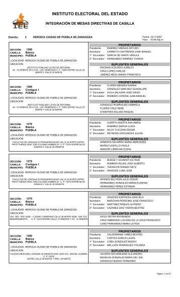 Distrito 3. HEROICA CIUDAD DE PUEBLA DE ZARAGOZA.